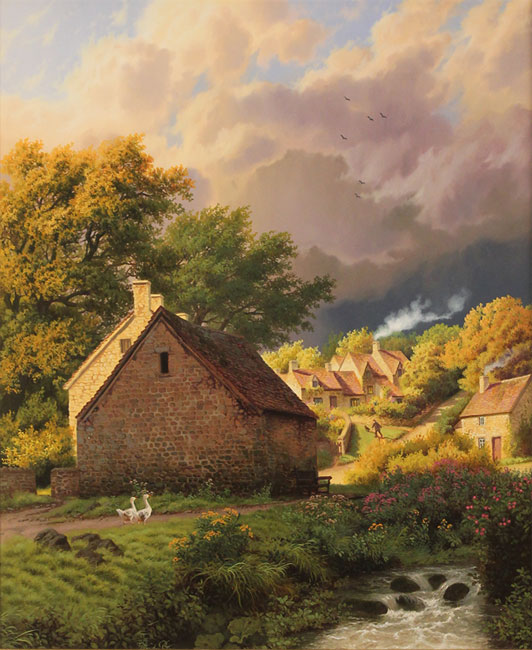 Daniel Van Der Putten, Original oil painting on panel, After the Rain, Bibury, Cotswolds