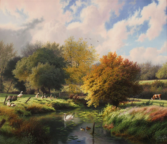 Daniel Van Der Putten, Original oil painting on panel, Autumn, River Dearne, Yorkshire
