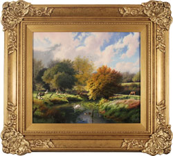 Daniel Van Der Putten, Original oil painting on panel, Jack Hill Lane, Otley, Yorkshire