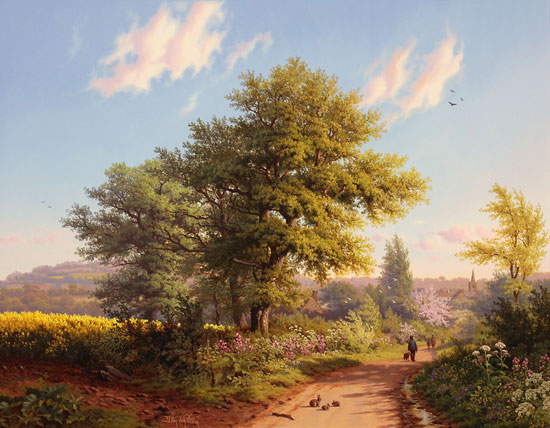 Daniel Van Der Putten, Original oil painting on panel, Road to Daventry in Spring