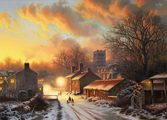 Daniel Van Der Putten, Original oil painting on panel, Sun Setting on Well, North Yorkshire No frame image. Click to enlarge