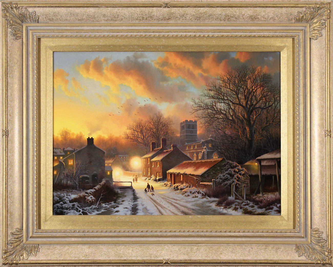 Daniel Van Der Putten, Original oil painting on panel, Sun Setting on Well, North Yorkshire Click to enlarge