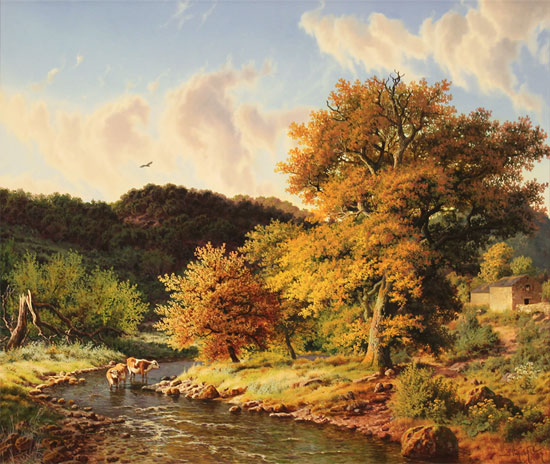Daniel Van Der Putten, Original oil painting on panel, Autumn, Crackpot, Swaledale, North Yorkshire No frame image. Click to enlarge
