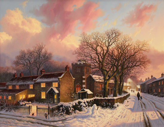 Daniel Van Der Putten, Original oil painting on panel, Evening at Lockton, North Yorkshire No frame image. Click to enlarge