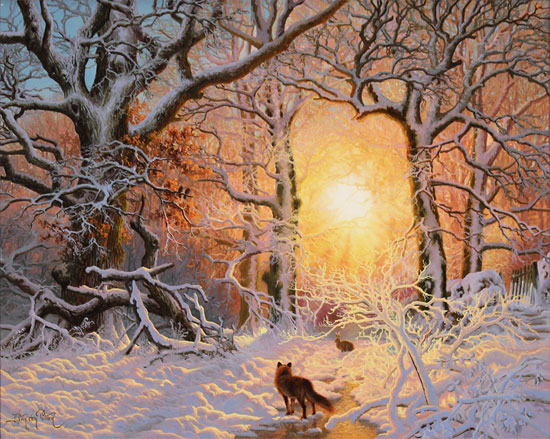 Daniel Van Der Putten, Original oil painting on panel, Fox in Mantles Heath Wood No frame image. Click to enlarge