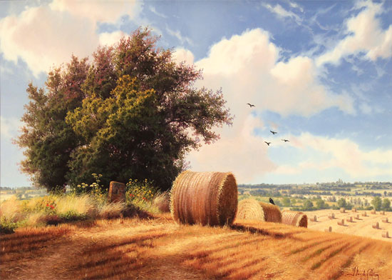 Daniel Van Der Putten, Original oil painting on panel, Summer on Weedon Hill No frame image. Click to enlarge