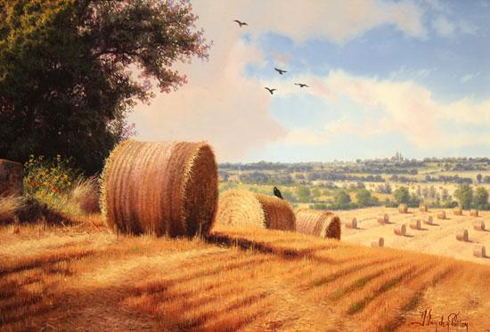 Daniel Van Der Putten, Original oil painting on panel, Summer on Weedon Hill Signature image. Click to enlarge