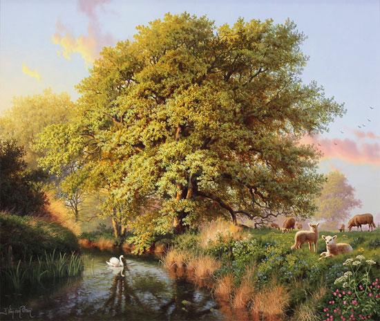 Daniel Van Der Putten, Original oil painting on panel, Beside the River Swale, Yorkshire No frame image. Click to enlarge
