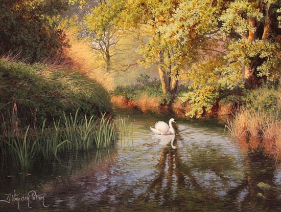 Daniel Van Der Putten, Original oil painting on panel, Beside the River Swale, Yorkshire Signature image. Click to enlarge