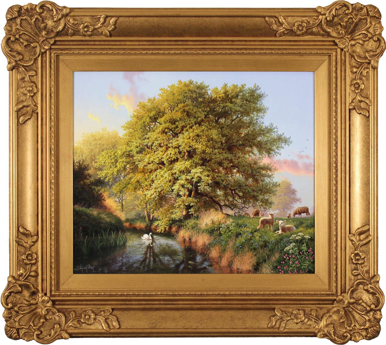 Daniel Van Der Putten, Original oil painting on panel, Beside the River Swale, Yorkshire Click to enlarge