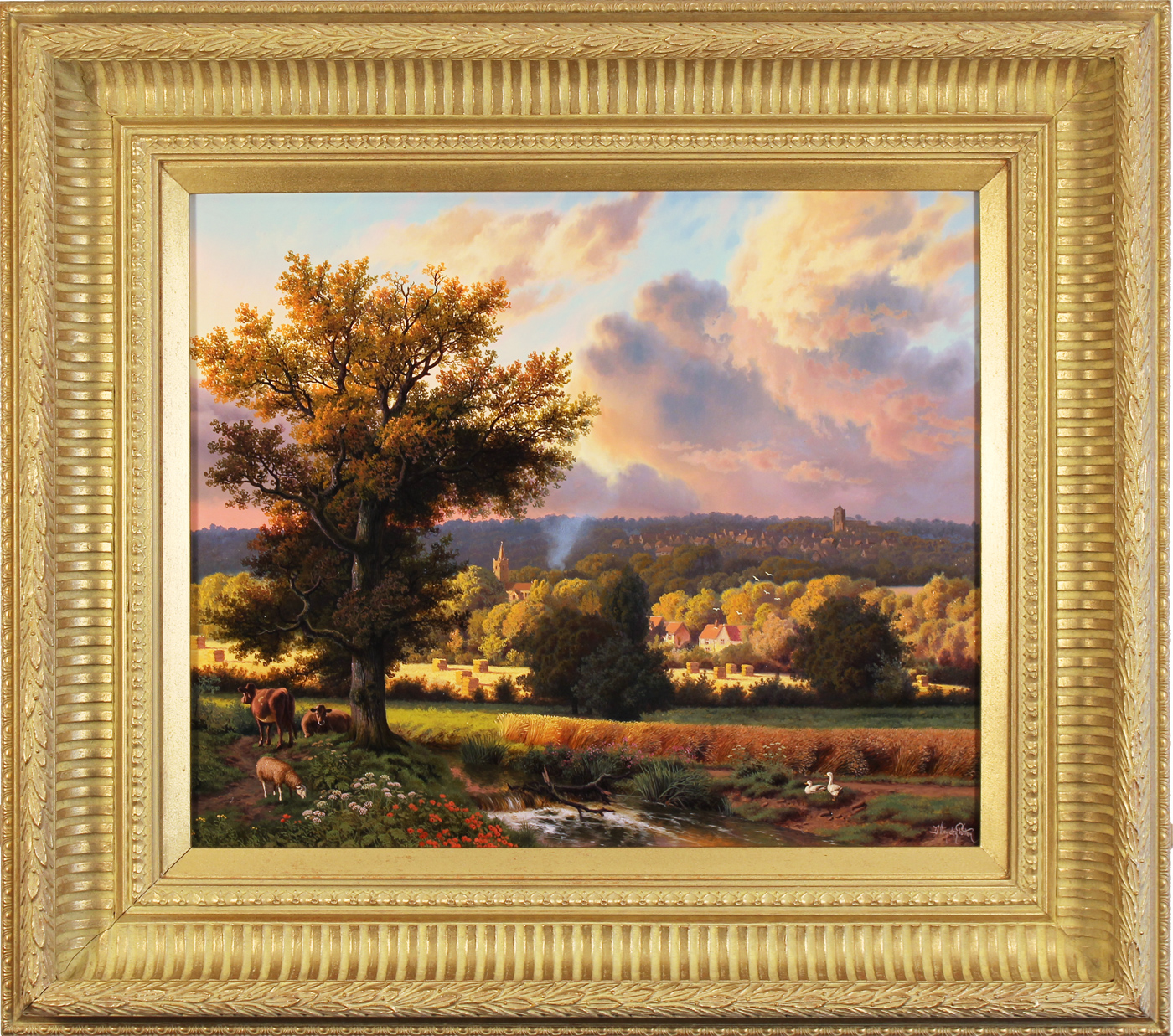 Daniel Van Der Putten, Original oil painting on panel, Milton Malsor in Summer, Northampton Click to enlarge