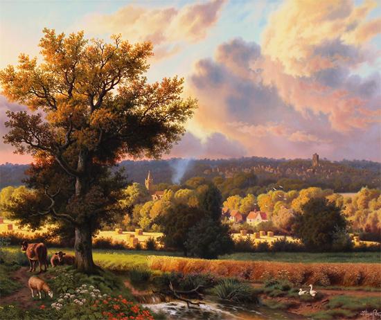Daniel Van Der Putten, Original oil painting on panel, Milton Malsor in Summer, Northampton No frame image. Click to enlarge