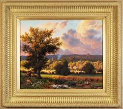 Daniel Van Der Putten, Original oil painting on panel, Milton Malsor in Summer, Northampton Medium image. Click to enlarge