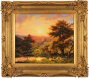 Daniel Van Der Putten, Original oil painting on panel, Sunsetting by the River, Flore