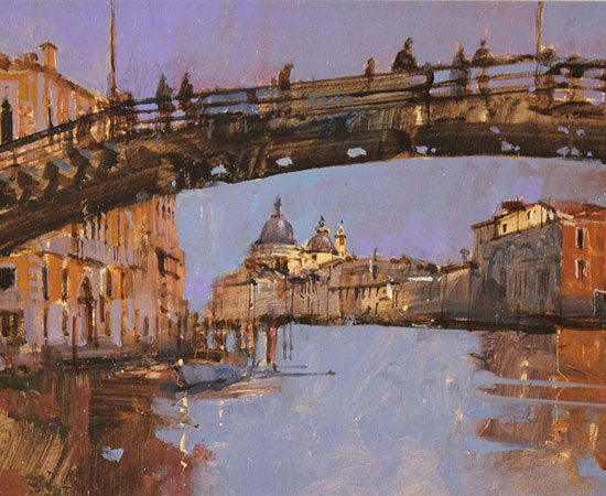 David Sawyer, RBA, Evening Light, Beneath the Accademia Bridge, Venice, Original oil painting on panel