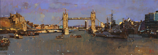 David Sawyer, RBA, Original oil painting on panel, Tower Bridge and HMS Belfast
