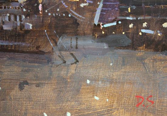 David Sawyer, RBA, Original oil painting on panel, Tower Bridge and HMS Belfast Signature image. Click to enlarge