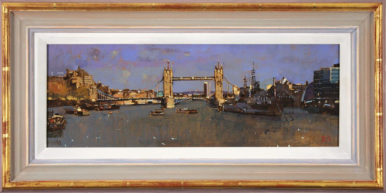 David Sawyer, RBA, Original oil painting on panel, Tower Bridge and HMS Belfast Click to enlarge