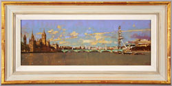 David Sawyer, RBA, Original oil painting on panel, Westminster, View from Lambeth Bridge