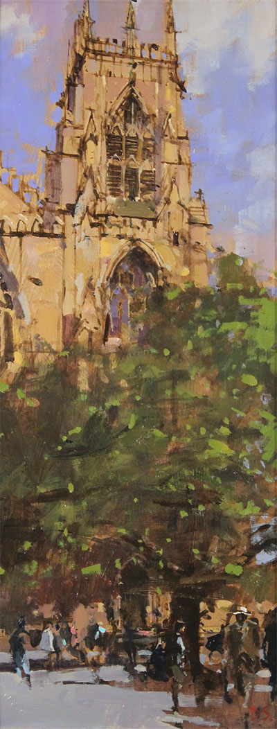 David Sawyer, RBA, Original oil painting on panel, The Panama Hat, Spring Afternoon, York Minster No frame image. Click to enlarge