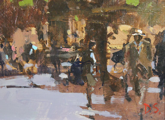 David Sawyer, RBA, Original oil painting on panel, The Panama Hat, Spring Afternoon, York Minster Signature image. Click to enlarge