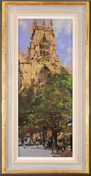 David Sawyer, RBA, Original oil painting on panel, The Panama Hat, Spring Afternoon, York Minster
