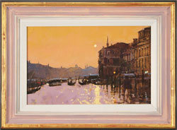 David Sawyer, RBA, Original oil painting on panel, Sunset Reflections, Grand Canal, Venice