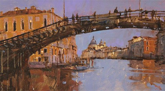 David Sawyer, RBA, Original oil painting on panel, Evening Light, Beneath the Accademia Bridge, Venice No frame image. Click to enlarge