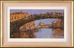 David Sawyer, RBA, Original oil painting on panel, Evening Light, Beneath the Accademia Bridge, Venice Medium image. Click to enlarge