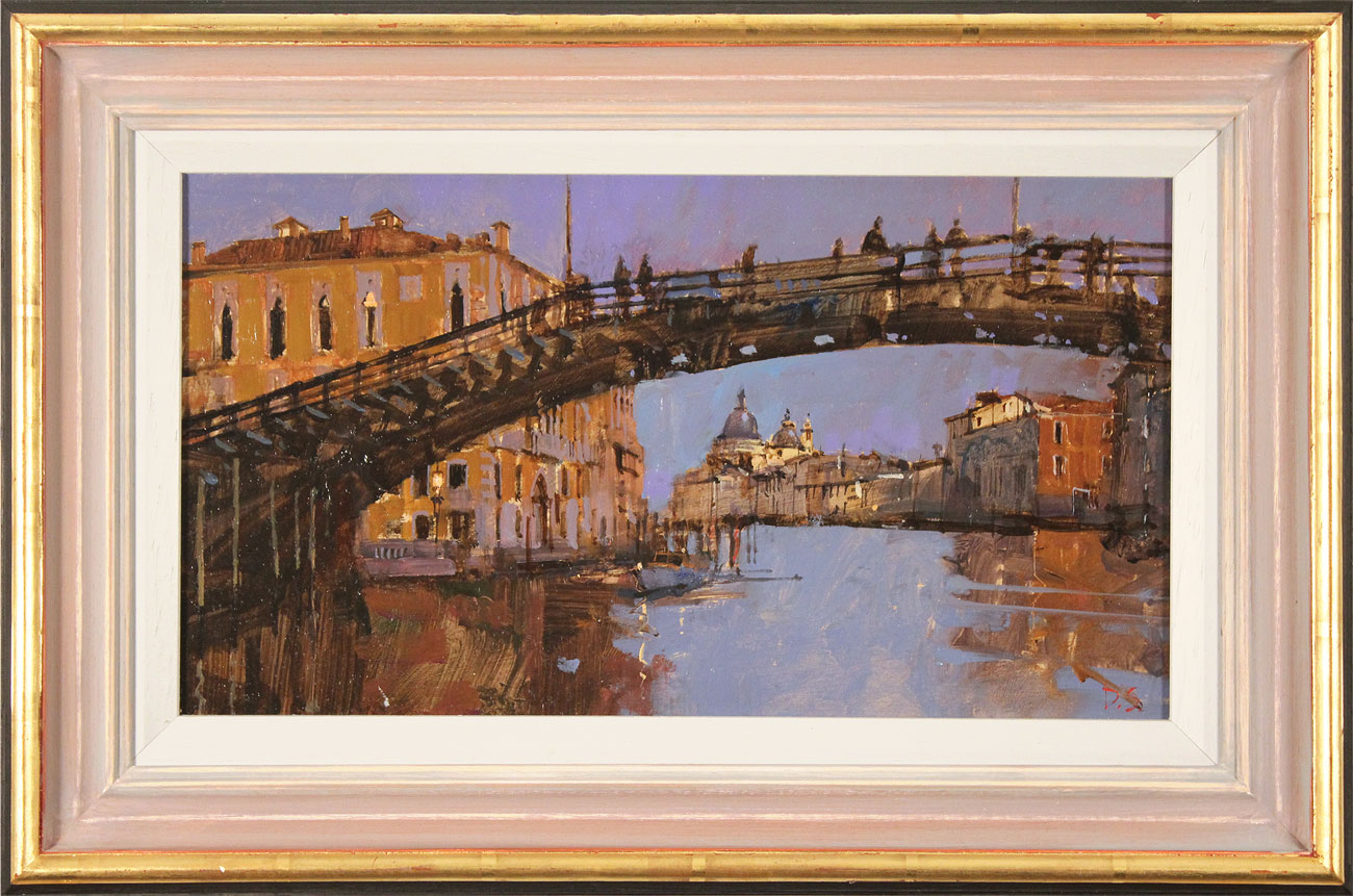 David Sawyer, RBA, Original oil painting on panel, Evening Light, Beneath the Accademia Bridge, Venice Click to enlarge