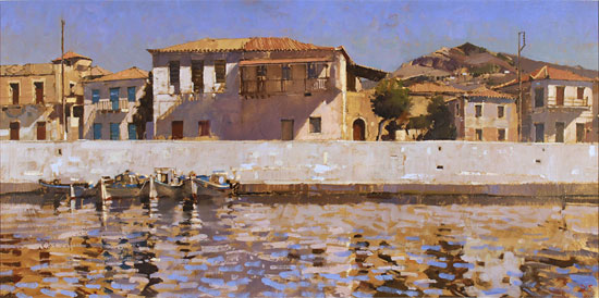 David Sawyer, RBA, Original oil painting on canvas, Peloponnese Waterfront