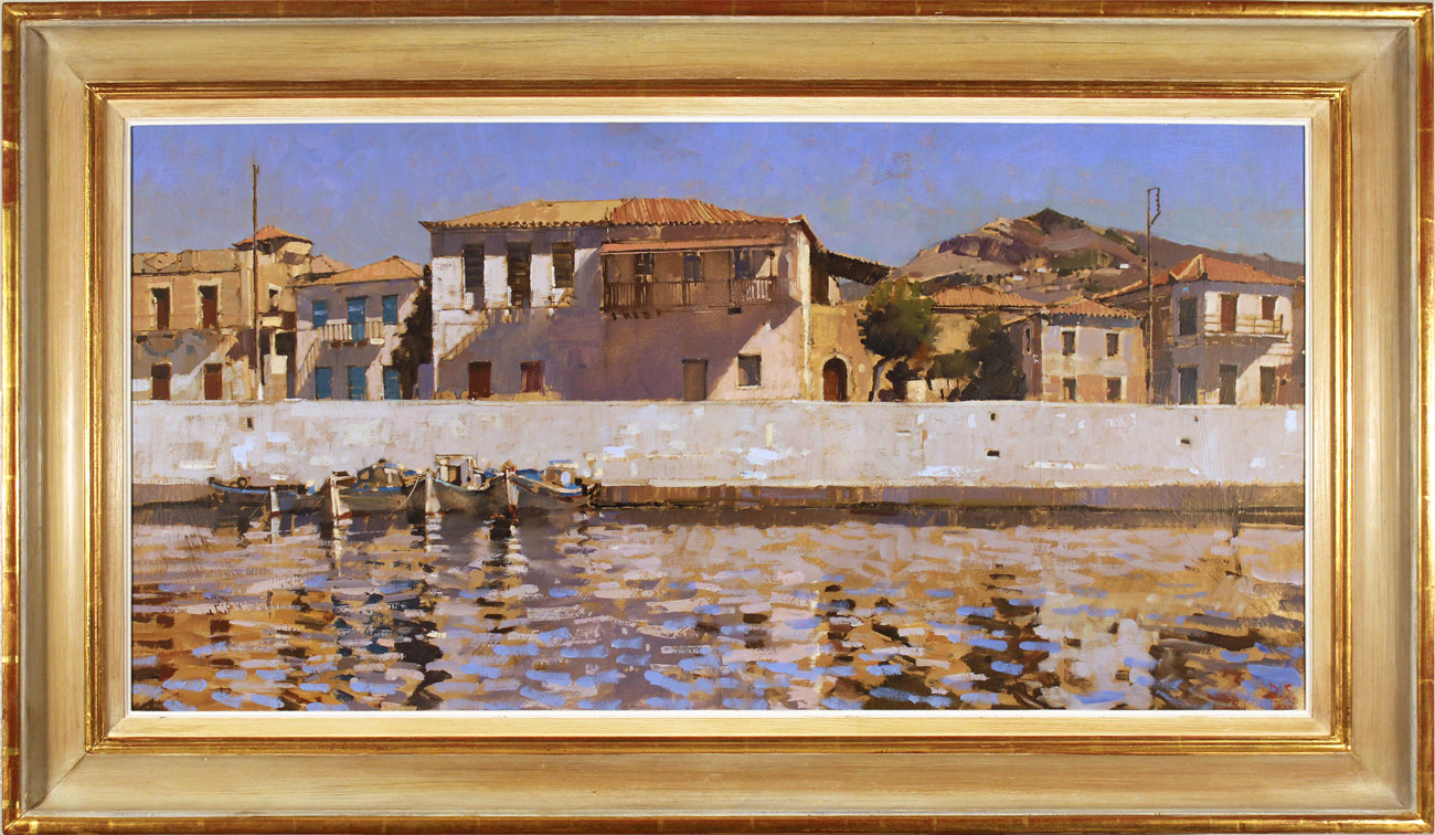 David Sawyer, RBA, Original oil painting on canvas, Peloponnese Waterfront Click to enlarge