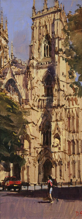 David Sawyer, RBA, Original oil painting on panel, The Red Truck, York Minster No frame image. Click to enlarge