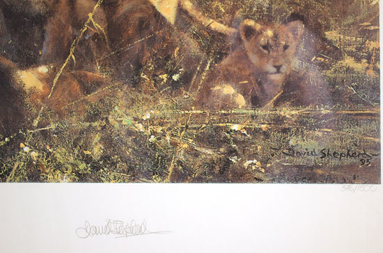 David Shepherd, Signed limited edition print, First Light at Savuti Signature image. Click to enlarge
