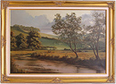 David Dipnall, Original oil painting on canvas, Autumn on the River Aire