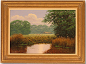 David Morgan, Original oil painting on canvas, Pond and Sheep