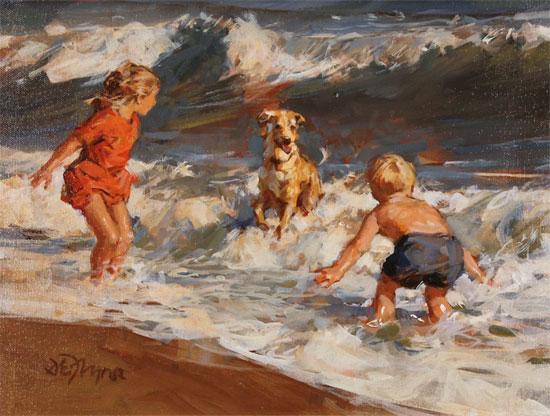 Dianne Flynn, Original acrylic painting on board, Splash! No frame image. Click to enlarge
