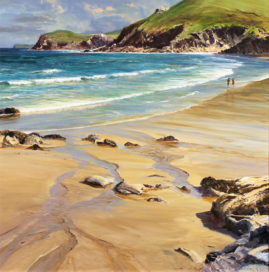 Duncan Palmar, Original oil painting on panel, Lundy Bay
