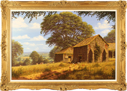 Edward Hersey, Original oil painting on canvas, Sprawling Scenes of Summer, North Yorkshire