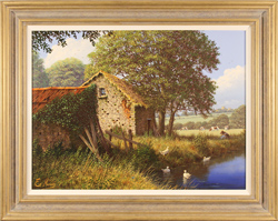 Edward Hersey, Original oil painting on canvas, Riverside Farm, The Cotswolds