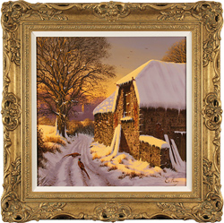 Edward Hersey, Original oil painting on canvas, Winter Evening, The Cotswolds