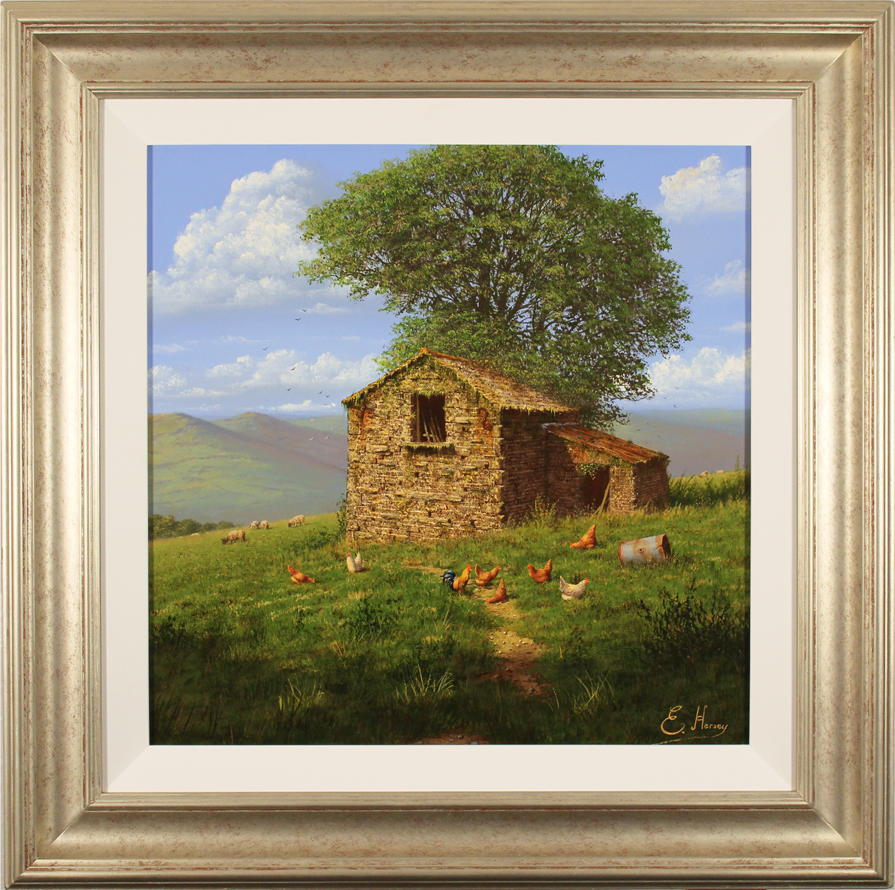 Edward Hersey, Original oil painting on canvas, The Lone Barn, Yorkshire Dales Click to enlarge