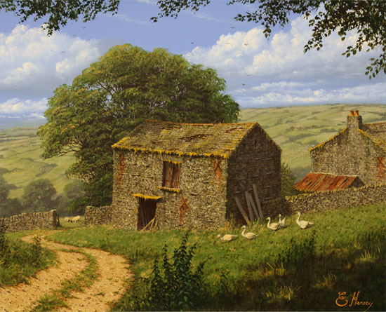 Edward Hersey, Original oil painting on canvas, Summer in the Yorkshire Dales