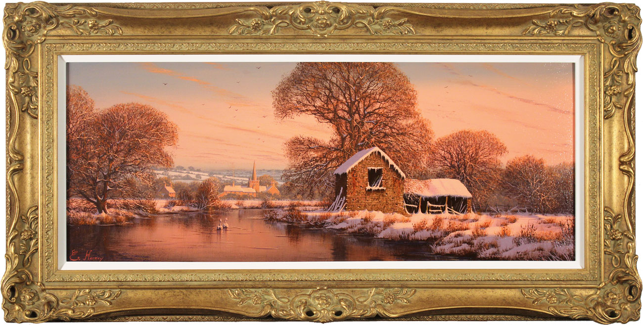 Edward Hersey, Original oil painting on canvas, The Warm Glow of Winter Click to enlarge