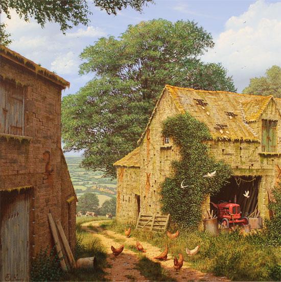 Edward Hersey, Signed limited edition print, Farmyard Corner No frame image. Click to enlarge