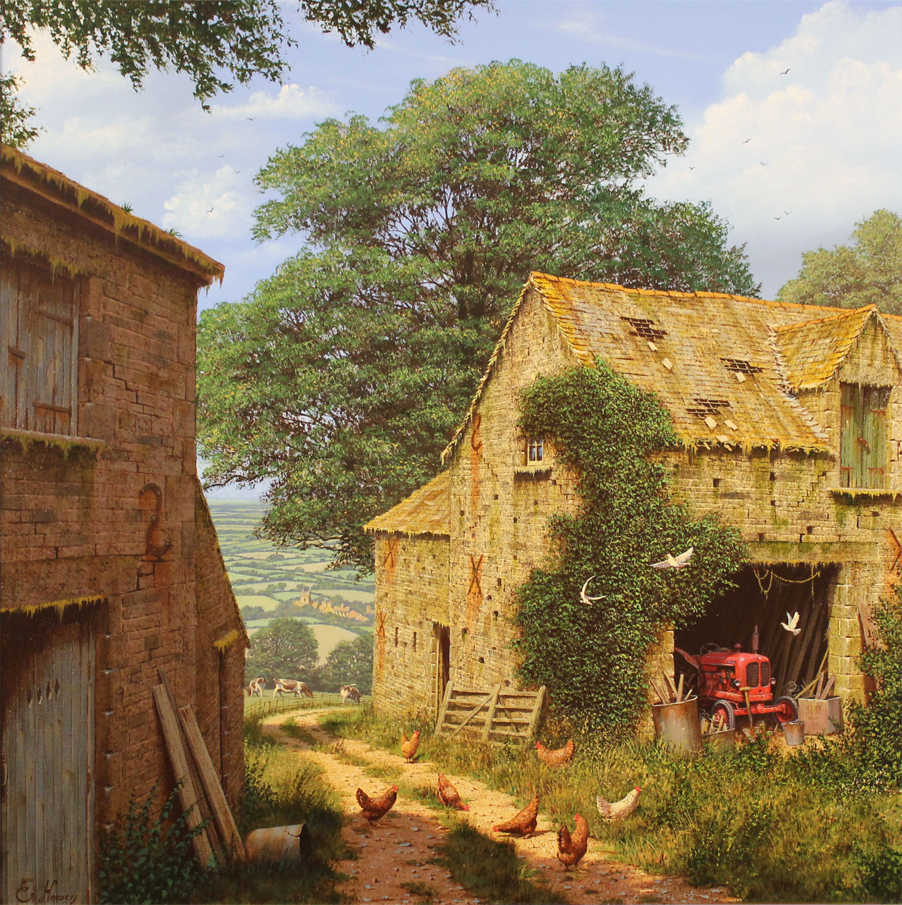 Edward Hersey, Signed limited edition print, Farmyard Corner Click to enlarge