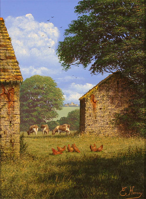 Edward Hersey, Original oil painting on canvas, One Fine Yorkshire Morning No frame image. Click to enlarge