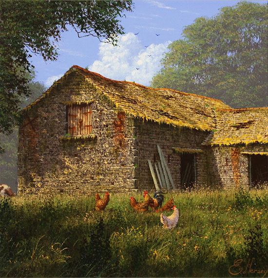 Edward Hersey, Original oil painting on canvas, The Summer Barn No frame image. Click to enlarge