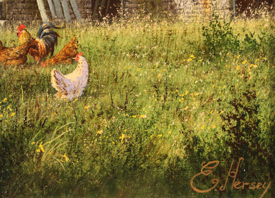 Edward Hersey, Original oil painting on canvas, The Summer Barn Signature image. Click to enlarge