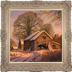 Edward Hersey, Original oil painting on canvas, Winter Warmth, Yorkshire Dales